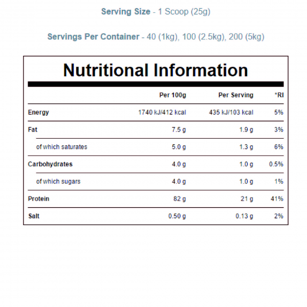 21 גרם חלבון לכל מנת הגשה עשיר ב- BCAA וגלוטמין