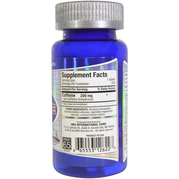 """טבליות קפאין 200 מ""""ג AllMax Nutrition"""