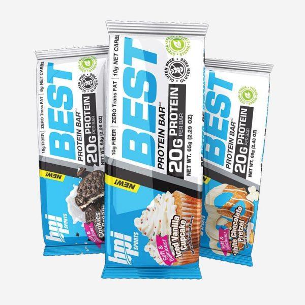חטיפי חלבון BPI מגוון טעמים - בייגלה עם שוקולד לבן, וניל, ובייגלה כרמל