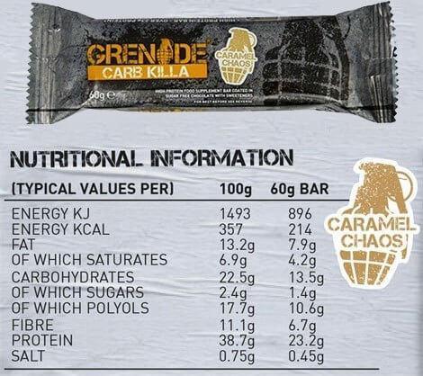 חטיף חלבון איכותי Grenade Carb Killa עם 23 גרם חלבון